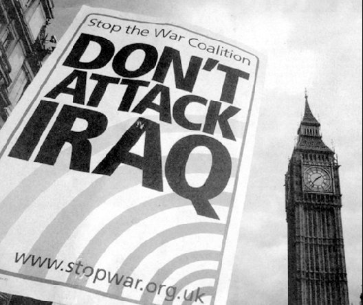Plakat: Don't attack Iraq